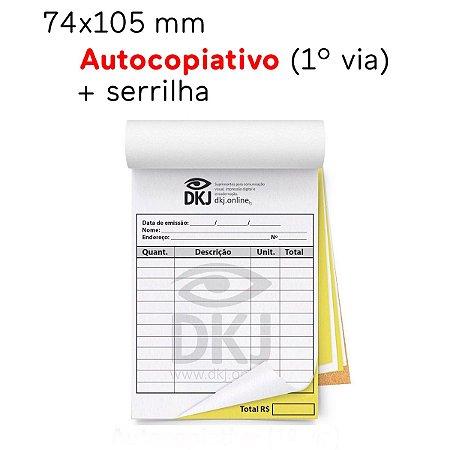 talões 74x105 mm - 1º via autocopiativo branca 2º via amarela 53g - 1x0 cores - blocagem, serrilha e grampo