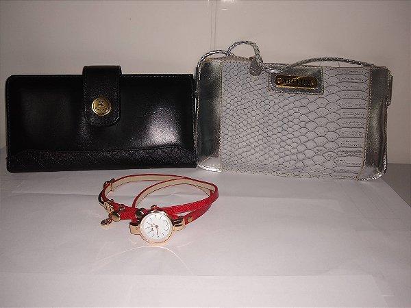 KIt carteira e bolsa transversal de couro e um relógio