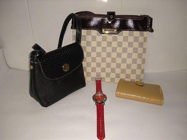 Kit promocional de bolsas e carteira de couro e o relógio de brinde