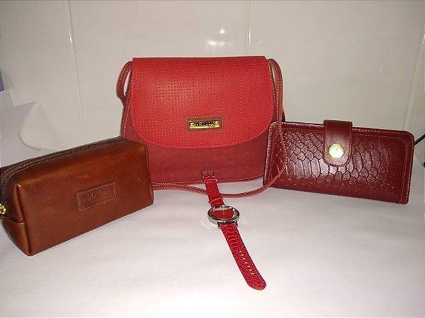 Kit bolsa, carteira, necessaire e um brinde de relógio