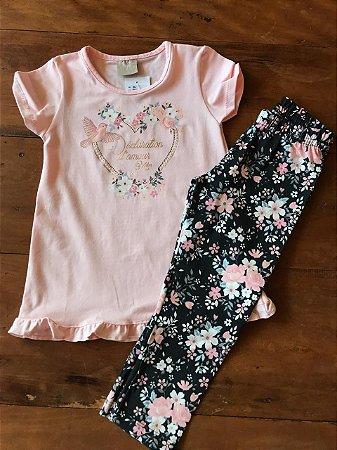 Conjunto com Legging e Blusa de Passarinho - Kid Camaleão Infantil 49d3607a8f2d0