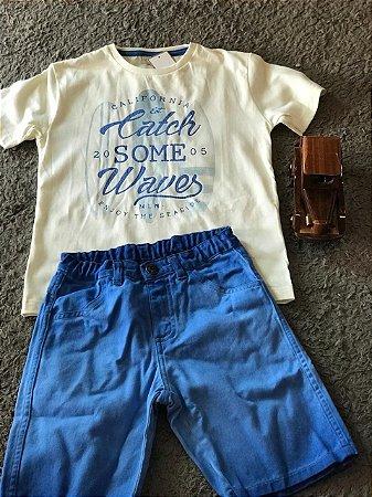 Conjunto com Blusa Amarela e Bermuda Azul - Kid Camaleão Infantil f75932b56f650