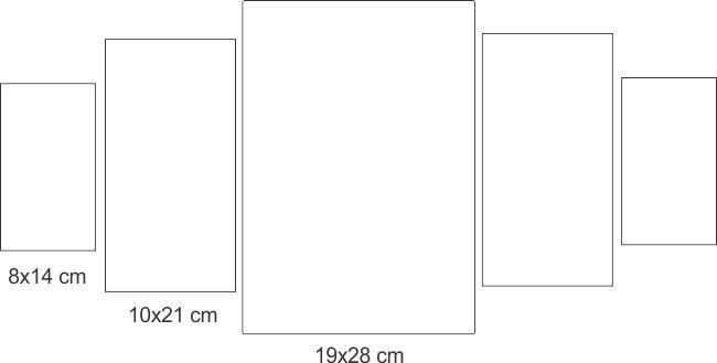 Painel de parede retangular em MDF 5pçs