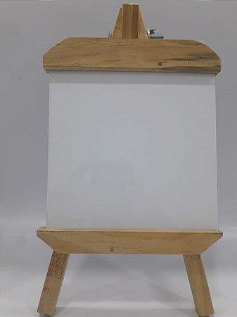Porta retrato cavalete - placa de metal 15x15 com suporte de madeira