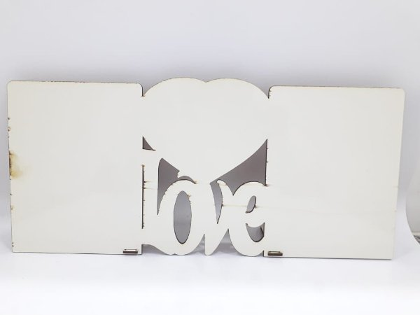 Porta retrato love 2 fotos - mdf
