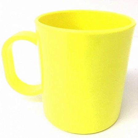 Caneca de polímero premium amarelo neon