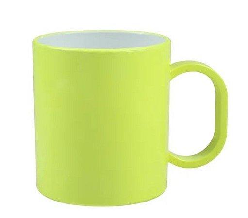 Caneca de polímero premium verde neon