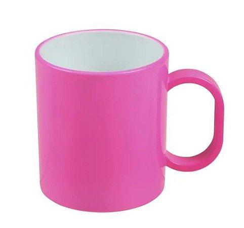 Caneca de polímero premium rosa neon