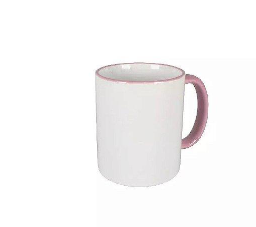 Caneca cerâmica/porcelana borda e alça rosa