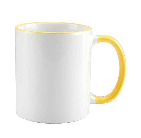 Caneca cerâmica/porcelana borda e alça amarela