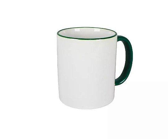 Caneca cerâmica/porcelana borda e alça verde escuro