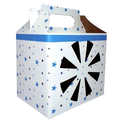 Caixa para caneca visor estrelinha azul c/ 10un