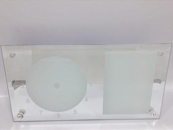 Porta retrato de vidro branco BL28 relogio espelhado