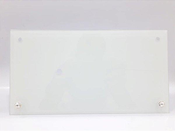 Porta retrato de vidro retangular  com relógio