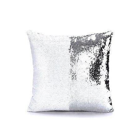 Capa almofada lantejola 40x40 prata/branco