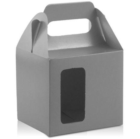 Caixa para caneca com visor cinza 12un