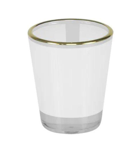 Copo vidro tequila 50ml - tarja branco - borda ouro