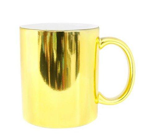 Caneca cerâmica/porcelana cromada dourada