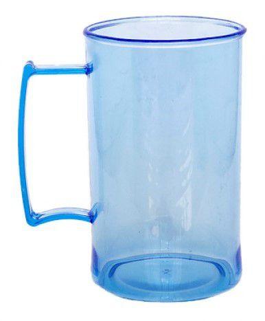 Caneca acrilico chopp azul transparente