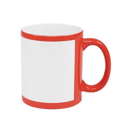 Caneca de cerâmica / porcelana Vermelha com tarja branca
