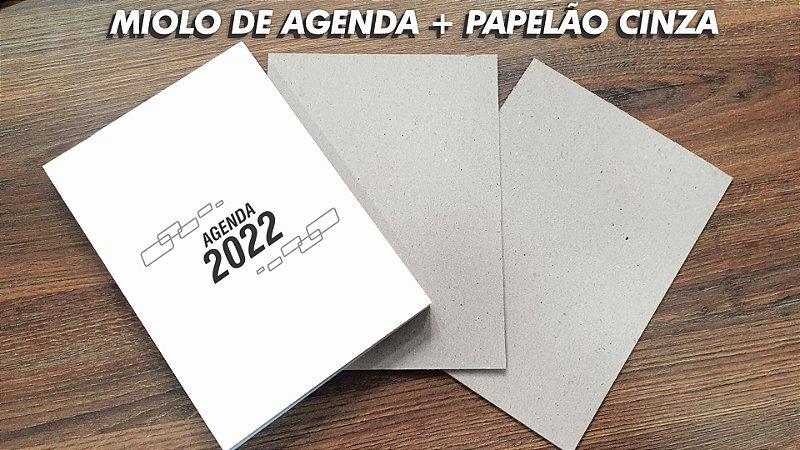 MIOLO DE AGENDA 2022 + PAPELÃO CINZA- 350 PÁGINAS - OFFSET 75G. PB - Embalagem unitária