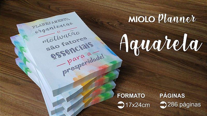 MIOLO DE PLANNER 2022 AQUARELA - 286 PÁGINAS - OFFSET 90G. PB - Embalagem unitária