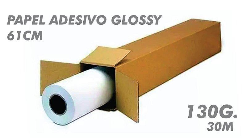 PAPEL ADESIVO GLOSSY ROLO - 61CM Larg. - 30m - 130g.