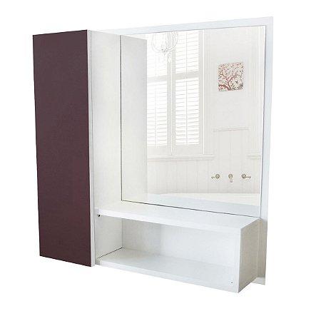 Armário Mdf Para Banheiro Com Espelho Nicho Espelheira Trufa