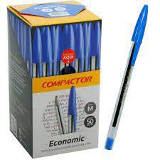 Caneta Compactor Economic Esferográfica Azul  - Caixa C/ 50 unidades