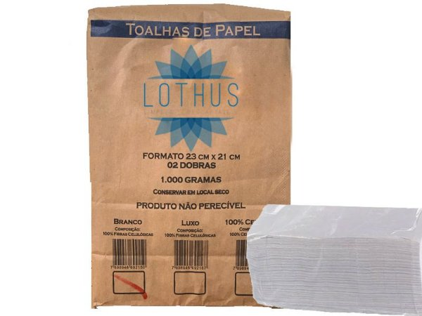 Papel Toalha Interfolha 2 dobras Branco 23x21cm com 1000 fls