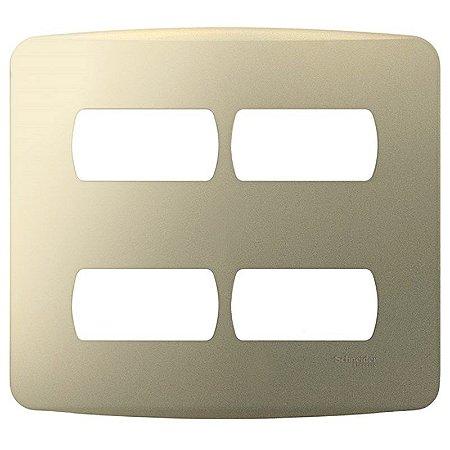 Placa 4X4 4 Módulos com Suporte Miluz Dourada -S3B77443 - Schneider Electric