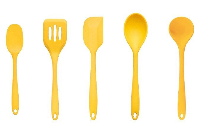 Conjunto de Utensílios de Cozinha 5 Peças - Amarelo - Oikos