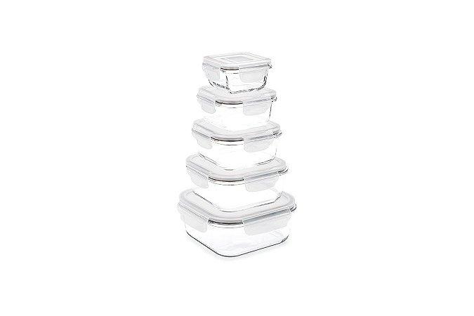 Conjunto de Potes Retangulares Herméticos com 5 Peças Lock&Stock  140ml, 320ml, 520, 800M e 1,1 L  - Incolor - Brinox