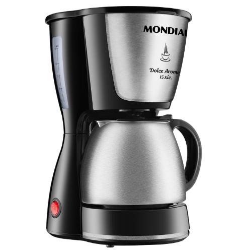 Cafeteira Elétrica Mondial Dolce Arome 15 Xícaras 550W C34JI Preto e Inox - 220V