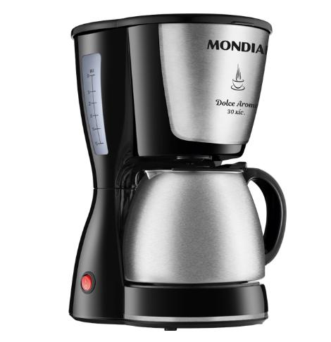 Cafeteira Elétrica Mondial Dolce Arome 30 Xícaras 800W C37JI Preto e Inox - 220V