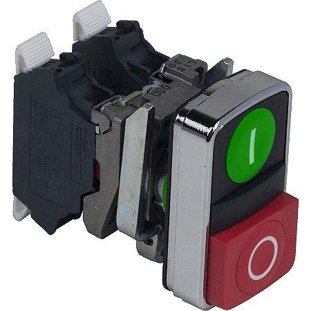 Botão 22mm Metálico Duplo Comando Start Start Stop 1NA 1NF Verde Vermelho - XB4BL73415 Schneider Electric