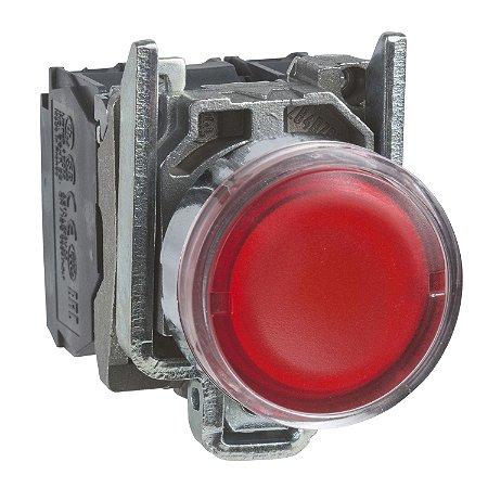 Botão 22mm Metálico Luminoso Led Vermelho 24VCA CC 1NA 1NF - XB4BW34B5 Schneider Electric
