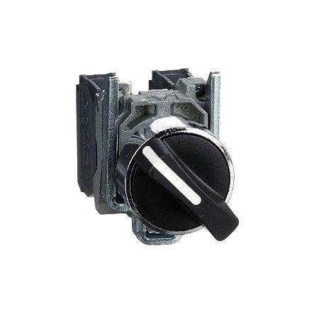 Comutador 22mm Metálico Manopla Curta 2 Posições Fixas NA NF - XB4BD25 Schneider Electric