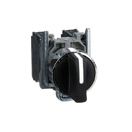 Comutador 22mm Metálico Manopla Curta 3 Posições com Retorno 2NA - XB4BD53 Schneider Electric