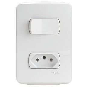 Conjunto 1 Interruptor Simples + 1 Tomada 2P+T 10A 250V PL/BR - S3B69030 Schneider Electric