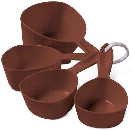 Conjunto de Medidores Xícara Brinox Glacê 4 Peças em ABS - Chocolate