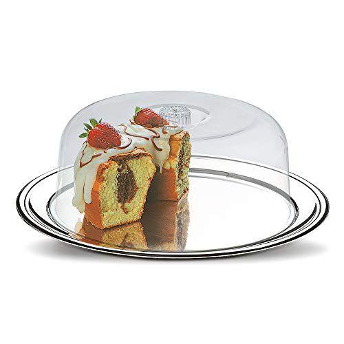 Conjunto para Bolo com 2 Peças - Petunia ø Prato em Inox 32 cm e Cúpula em Acrílico ø 24,5 cm - Brinox