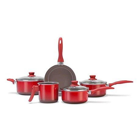 Conjunto Panelas Brinox Ceramic Life Smart Plus 5 Peças - Vermelho