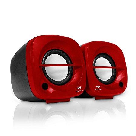 Caixa de Som Speaker USB C3Tech 2.0 SP-303RD - Vermelho