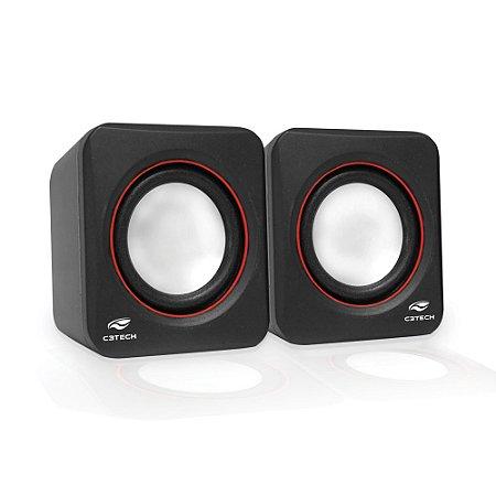 Caixa de Som Speaker Usb C3Tech 2.0 SP-301BK - Preto e Vermelho