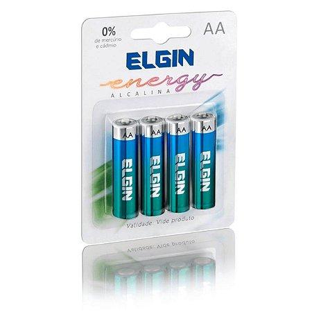 Pilha Alcalina AA 1,5V Elgin - Blister com 4 Unidades