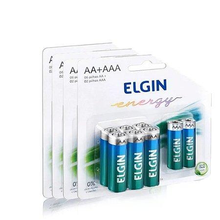 Kit com 8 Pilhas Alcalinas com 6 AA + 2 AAA 1,5V - Elgin