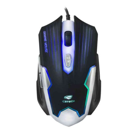 Mouse Gamer C3Tech MG-11BSI Usb 2400 Dpi - Preto e Prata