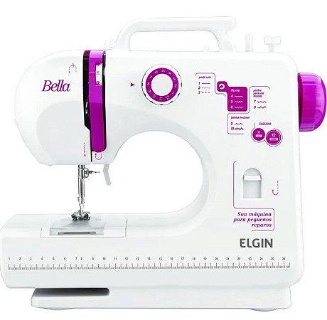 Máquina de Costura Elgin Bella BL-1200 Branca e Rosa - Bivolt