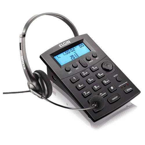 Telefone Headset com Identificador de Chamadas e Saída para Gravação P2 Preto - HST-8000 42HST8000000 - Elgin
